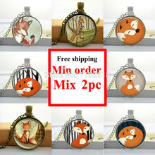 Wholesale Hot Glass Dome Jewelry Glass Fox Necklace Woodland Creature Watercolor Art Pendant For Necklace Sliver(China (Mainland))