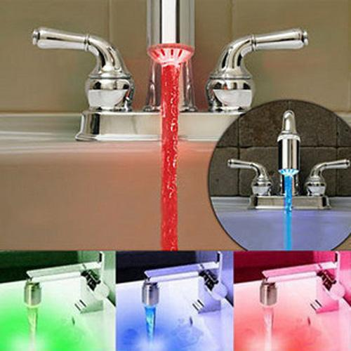 3 Colors RC-F03 RGB Temperature Sensor Control Faucet Water Glow Shower LED Taps Free Shiping(China (Mainland))