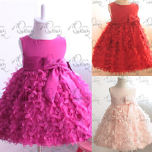 Kids Girls Pettiskirt Party Dress Flower Clusters Bow Fluffy Bubble Dress 1-6Y