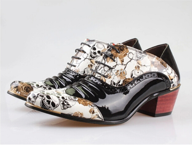 Fashion Men's Elevator Shoes,Punk Skull Printed Patchwork High Heel Wedding Party Dating Dance Shoes,US Size 6-10