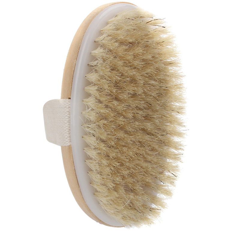 Natural Bristle Dry Skin Body Brush Exfoliate Stimulate Blood Circulation Relaxing SPA Shower Scrubber Massager Bathroom Product(China (Mainland))