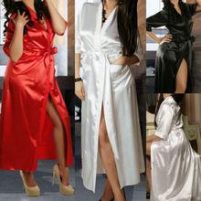 Sexy SILK Stain Kimono Dressing Gown Bath Robe Babydoll Lingerie Nightdress