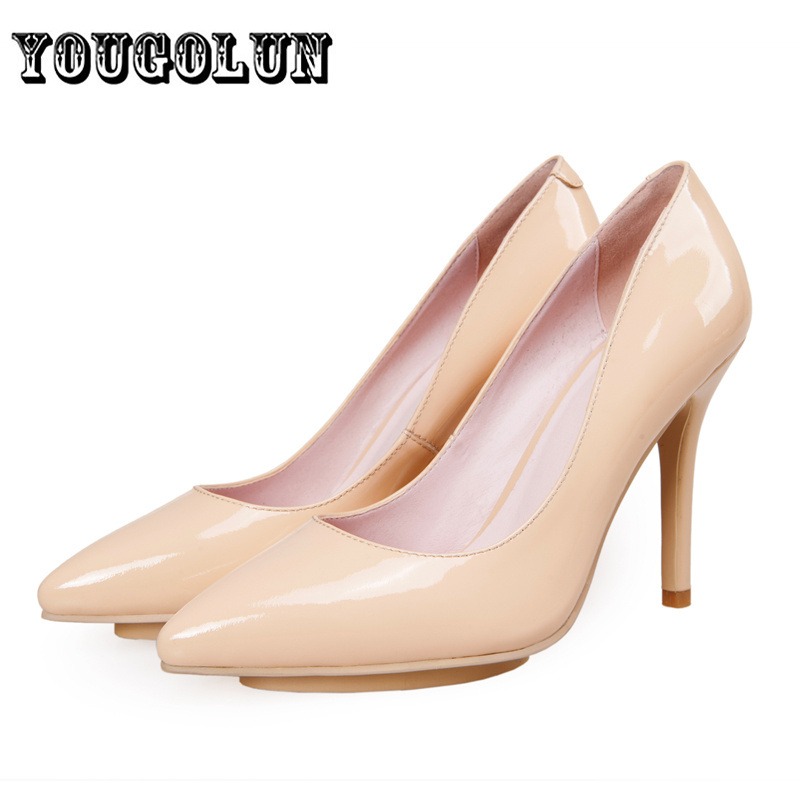 Fashion Women pointed toe ladies thin high heels Pumps woman autumn summer shoes womens black nude genuine leather shoe female