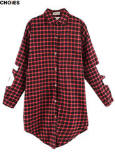 CHOIES Women Red Plaid Cotton 81 Number Letters Print Oversize Long Shirt 2015 Spring New Arrival In Stock(China (Mainland))