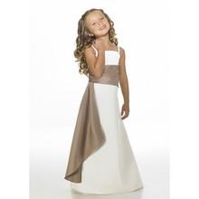 Correa De espagueti vestidos floristas para bodas Vestido De Noiva blanco sin mangas gasa De la cremallera A-line con champagne sashes(China (Mainland))