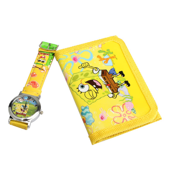 Hot Children's Cartoon Watches Lovely Spongebob Squarepants Quartz Watch With Purse Yellow For Kids(China (Mainland))