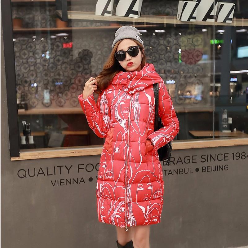 Скидки на 2016 зимой Толстые женская зимняя куртка, ветровка и длинные участки Корейский Тонкий хлопок пальто