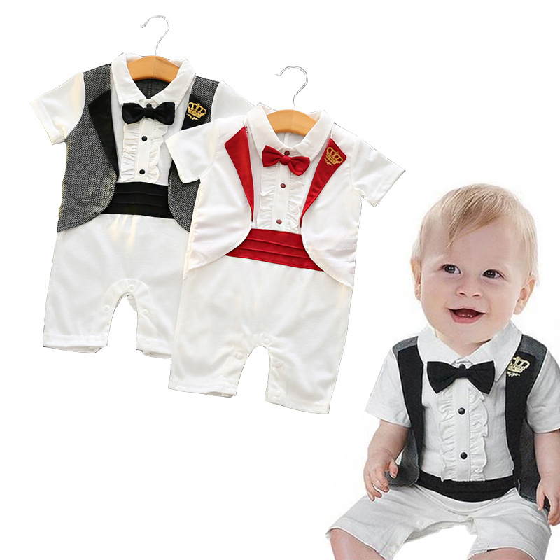 Summer 2017 fashion Kids fake two 2pcs clothes suit Baby Boy T-shirt Top+Short pants outfit set children gentleman Clothing Sets(China (Mainland))