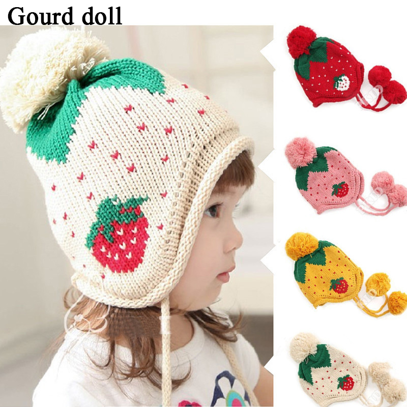 Hot!! 2015 Fashion New Cute Baby Hat Lovely Soft Newborn Hat Winter Baby Cap Girls/Boys Children Knitted Hat Ear Flap Warm Hat(China (Mainland))