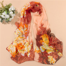 New Design 2016 Chiffon Butterfly Flower Print Scarf Women Artificial Silk Long Shawls And Scarves(China (Mainland))