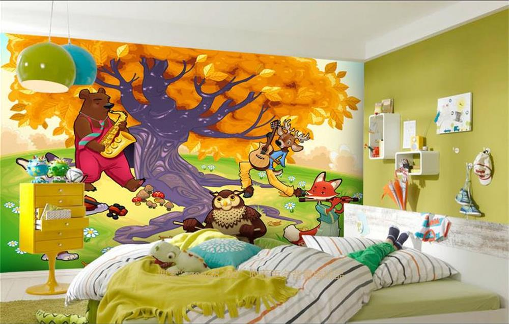 Custom 3d Mural Wallpaper Non-Woven Kids' Room Wall Paper Party animal cartoon big tree Photo Bedding Room 3d Photo Wallpaper(China (Mainland))