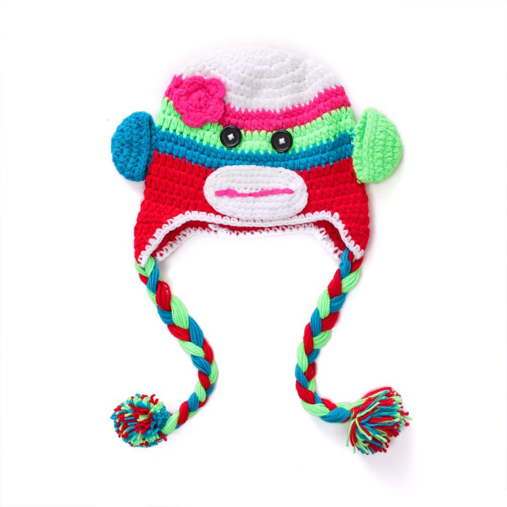 Monkey Crochet Baby Hat Caps Children Animal Cartoon pattern Earflap Hats Monkey Knitted Beanie Baby Hat(China (Mainland))
