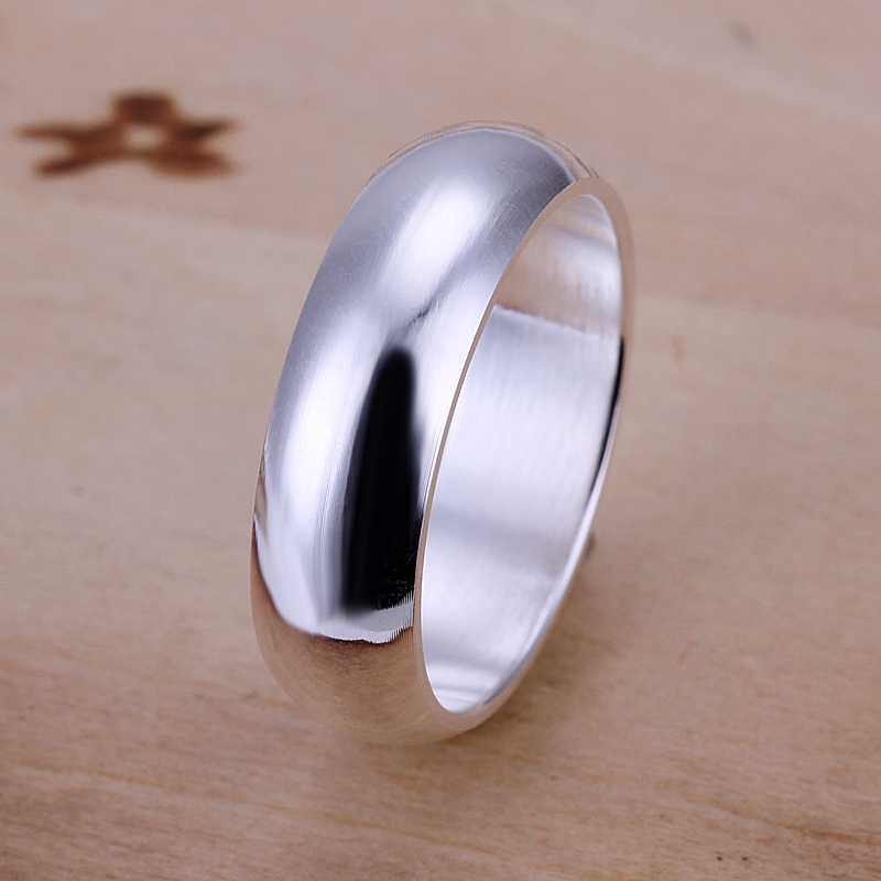 Free Shipping 925 Sterling Silver Ring Fine Fashion Smooth Round Silver Jewelry Ring Women&Men Gift Finger Rings SMTR025(China (Mainland))