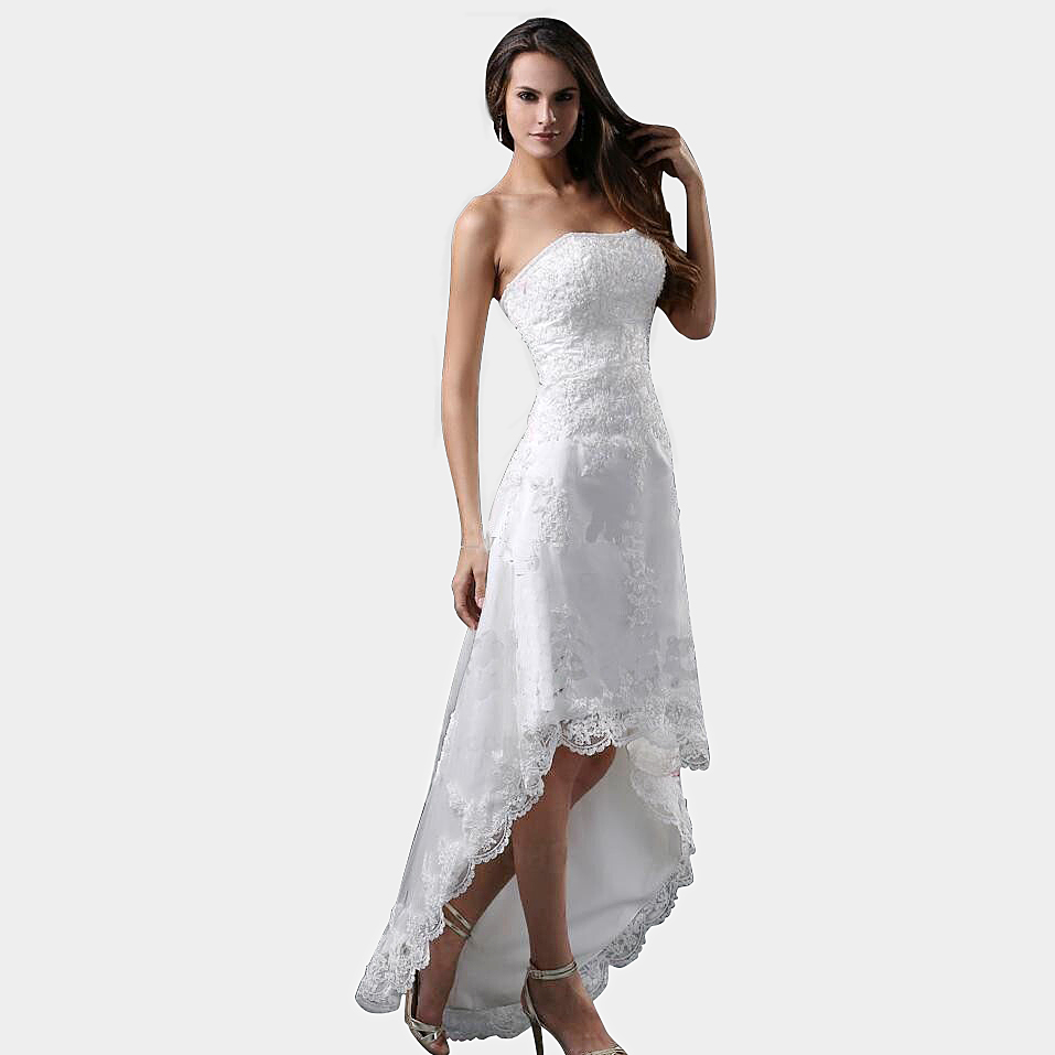 Robe de mariage sexy strapless high low lace white short for White wedding dress cheap