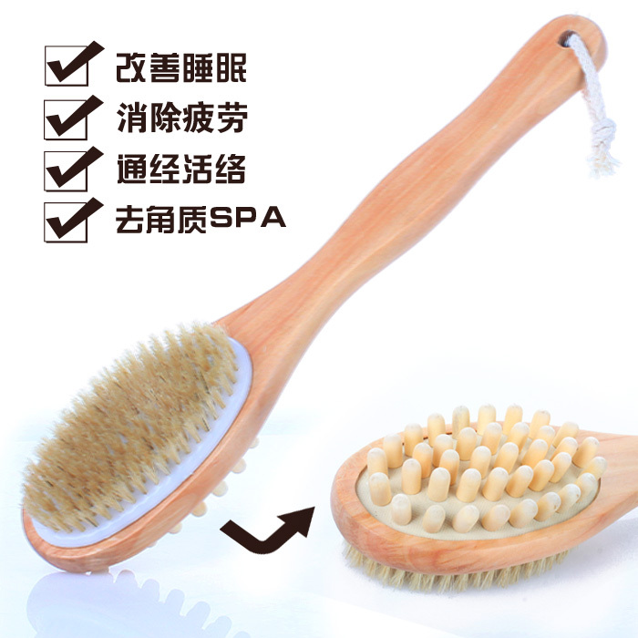 Natural Handle Wooden Shower Brush/Bamboo bristle brush massage bath brush/ manufacturers offer discounts(China (Mainland))