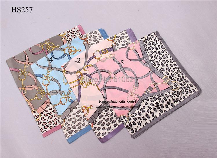 "21""x21"" 100 silk plain leopard scarf / fashion women belts design printed silk scarf bandana free shipping(China (Mainland))"