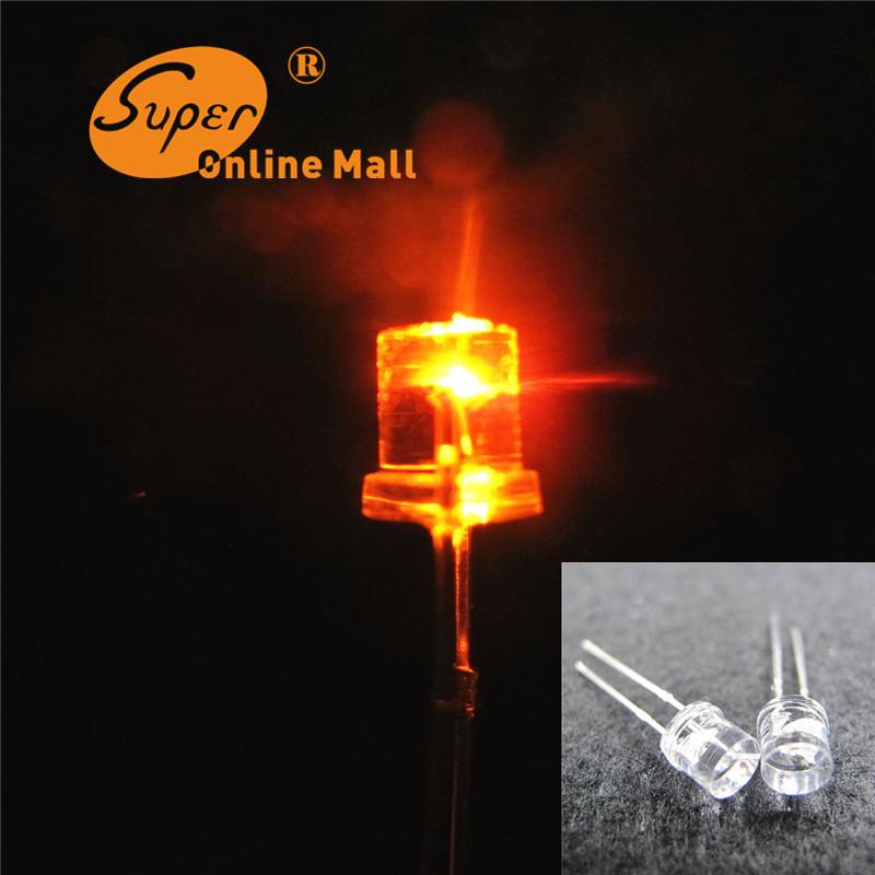100 pcs 5mm flat top orange/amber led diode ultra bright led emitting diodes 5mm Wide Angle Light lamp(China (Mainland))