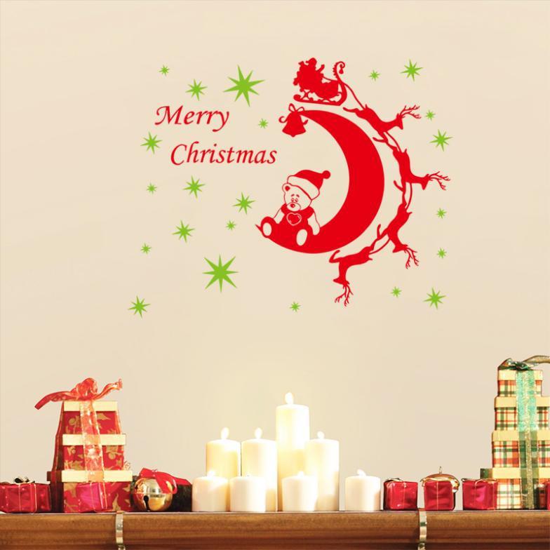 2015 Modern Pvc Fetival Merry Christmas Stickers Home Decor Decoration Art Removable Size 64cm