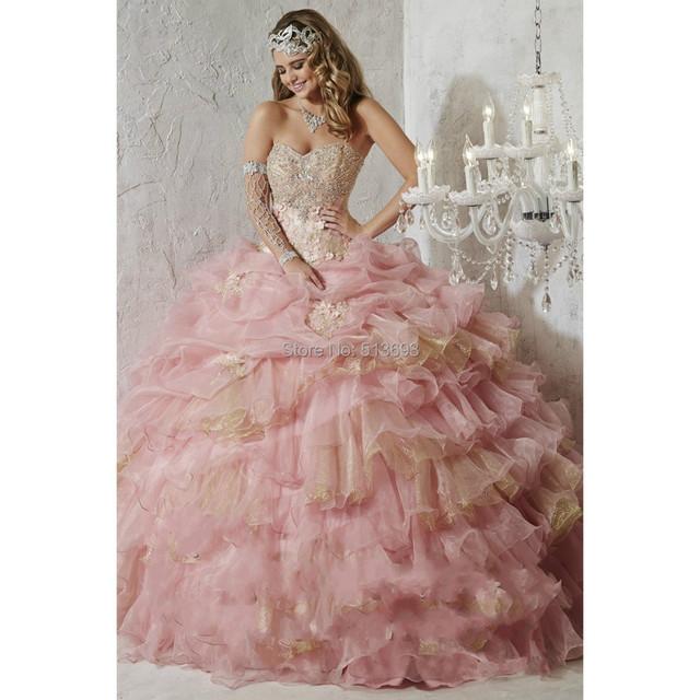 Luxuirous сердечком с цветы и с оборками розовый / золото шнуровка бальное платье ...
