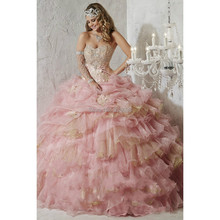 Luxuirous dell'innamorato con fiori e ruffles hot pink/gold lace up abito di sfera principessa abiti quinceanera 2015 perline di cristallo(China (Mainland))