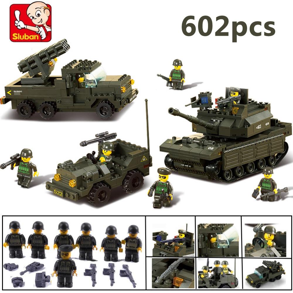 Гаджет  Sluban 6800 Tank DIY Block Compatible with Lego eductional Building Blocks Sets Military Army Makava Tank children toys Gifts None Игрушки и Хобби