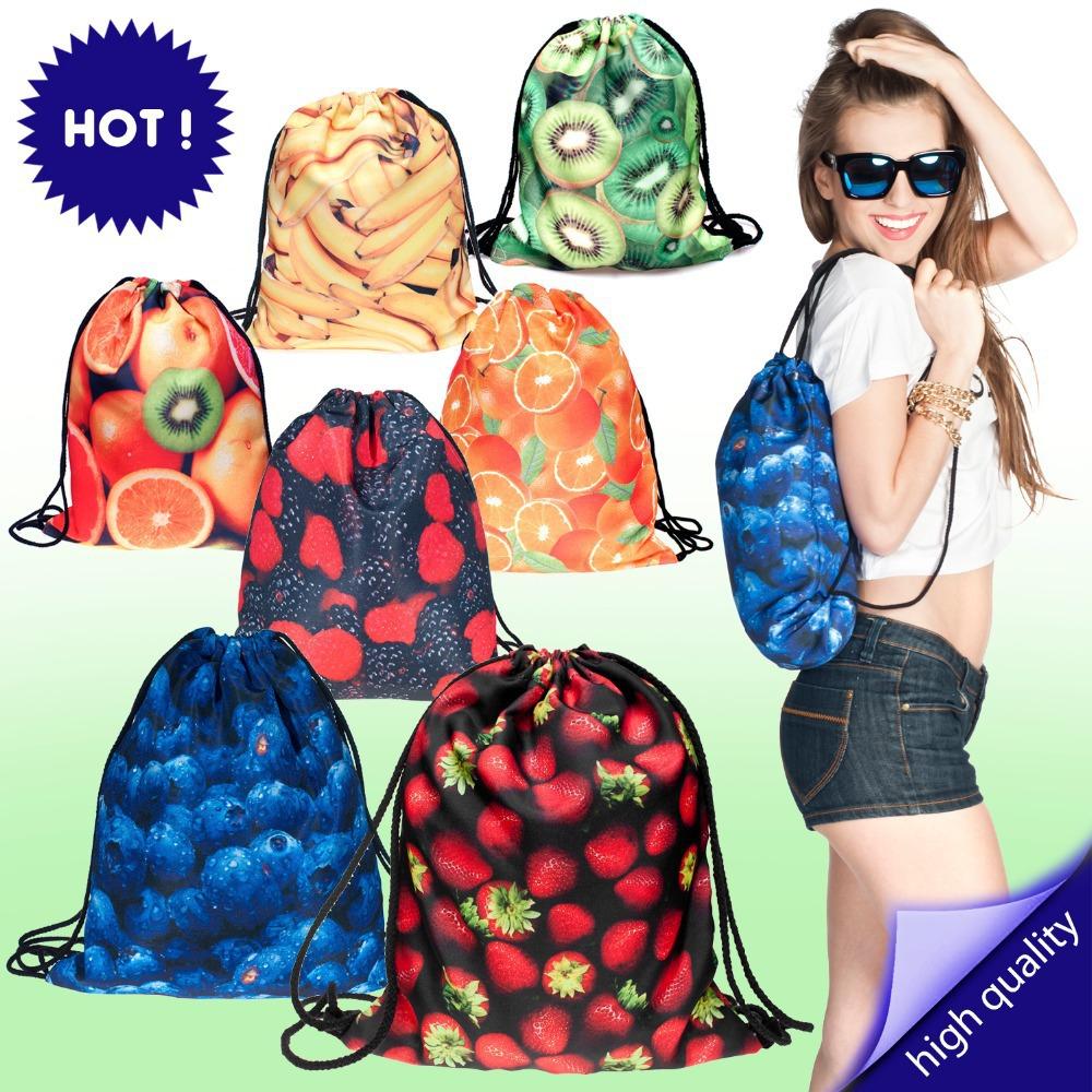 Backpacks print FRUITS watermelon orange citrus kiwi blackberry(China (Mainland))