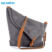 2016 Women Canvas Bag Ladies Large Grey Cotton Bag Crossbody Bags For Women Vintage Leather Handbags