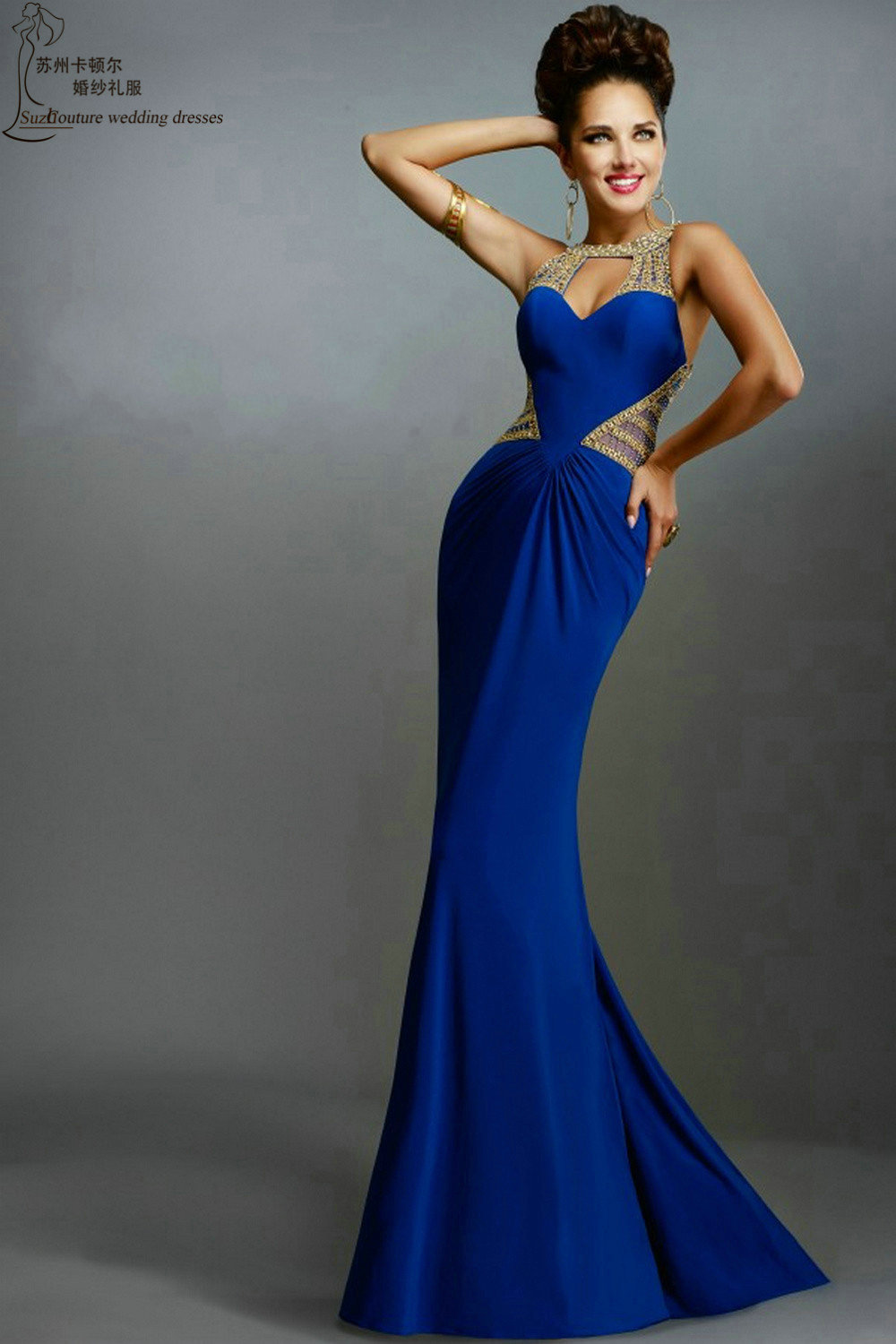 royal blue prom dress pm1612 elegant long mermaid prom. Black Bedroom Furniture Sets. Home Design Ideas