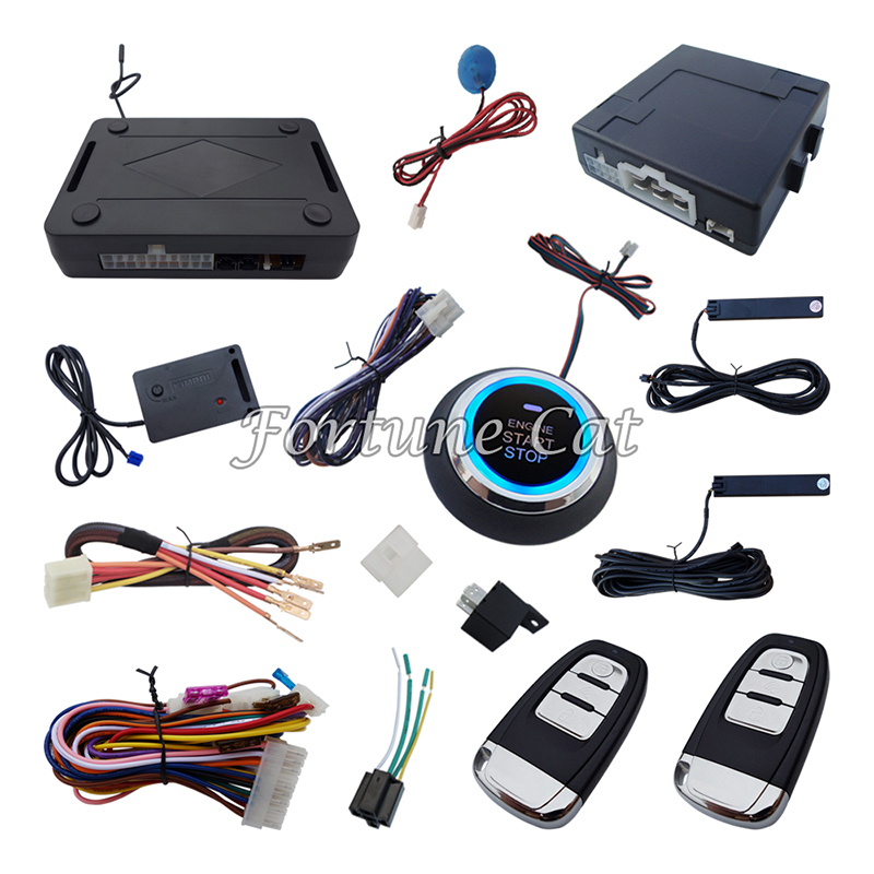 Rolling Code PKE Car Alarm System With Passive Keyless Entry Power Window Output And Push Button Start(China (Mainland))