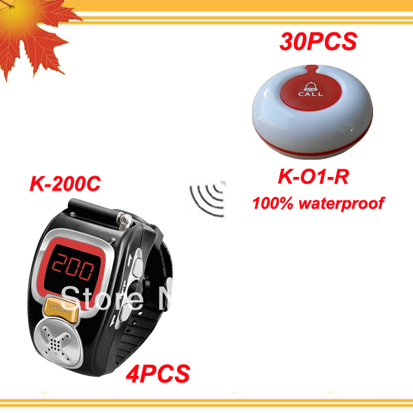Waiter calling system for bars of 4pcs alpha pagers and 30pcs 100% waterproof table buzzer free shipping free by EMS/DHL
