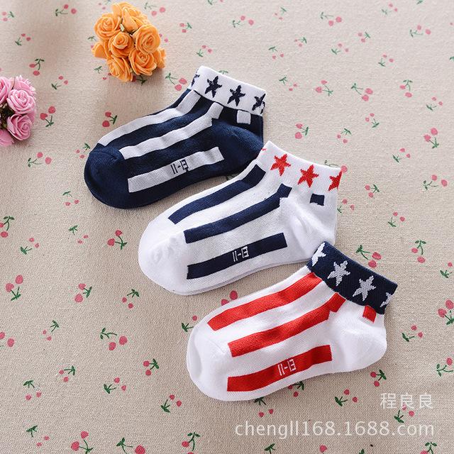 Летом сетки стиль дети лодка носки моды полосы звезда детские носки хлопок мальчиков ...