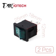 Orificio de montaje 18mm x 12mm 6A 250VAC 10A $ number v ON/OFF 4 Pin Verde Indicador Interruptor Dpst 2 Unids/lote Descuento 70