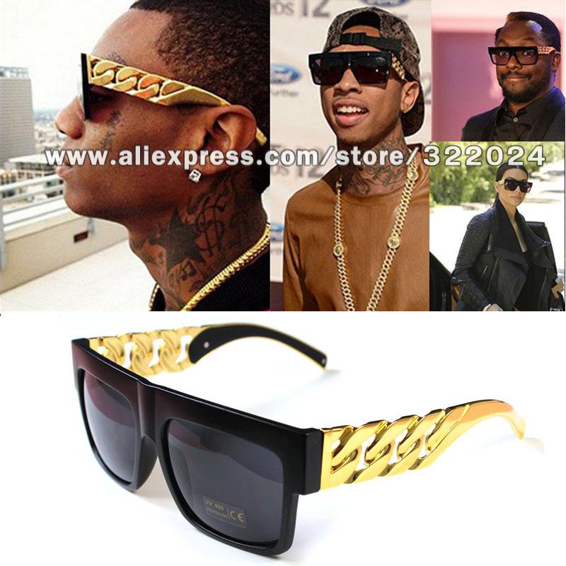 Kim kardashian Beyonce Celebrities Plastic Gold Chain Oversized Shades Sunglasses Men/ Women Brand Sun glasses Eyewear(China (Mainland))