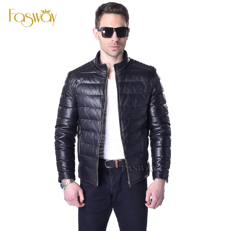 Factory Men Duck Down Leather Jacket Genuine Sheepskin Leather Coat For Men Black Orange Short Men's Leather Coat Winter ZH062(China (Mainland))