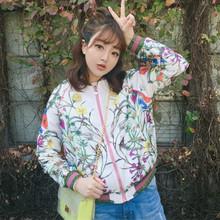 Women Basic Coats Jackets 2017 Spring Autumn Fashion Long Sleeve Flower Letter Printed Ladies Satin Floral Bomber Jacket(China (Mainland))