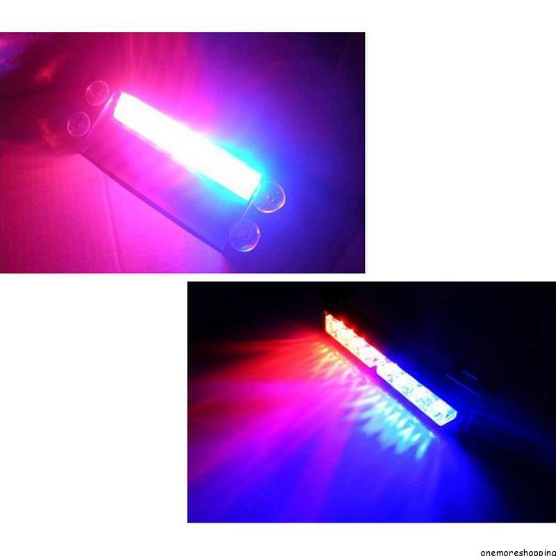 New Car Styling 8 LED Red/Blue Car Police Strobe Flash Light Dash Emergency 3 Flashing Fog Lights(China (Mainland))