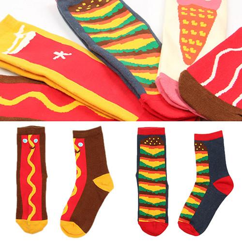 Bluelans Warm Men Women Cotton Crew Socks Food Pattern Winter Breathable Medium Sock Hosiery
