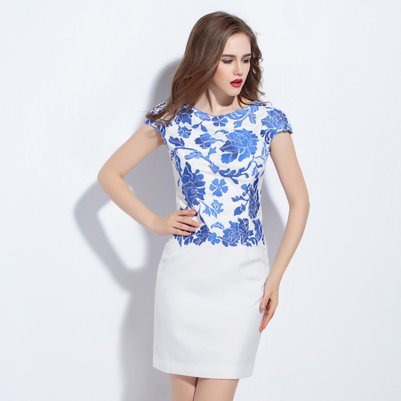 woman dress summer 2016 new spring embroidery flower elegant Party Dress S XXXL size fashion Work Clothing vintage dresses white(China (Mainland))