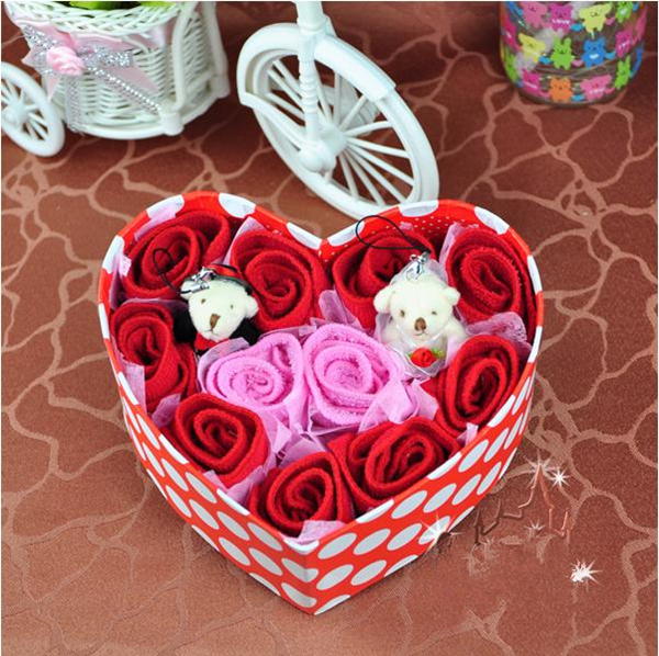 2014 Mother's Day Gift Towel Heart Box Floral Rose Towel JSLP001(China (Mainland))