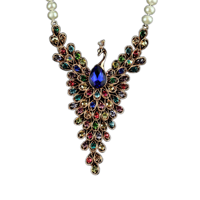 Luxury Colorful Cubic Zirconia Peacock Silver Pendant With Long 8mm Freshwater Rope Pearl Necklace Banquet Jewelry AJ-TNN165(China (Mainland))