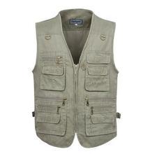 Cotton Vests Men 3XL 4XL 5XL Fishing Vest Mens Outdoors Cotton Multi Pocket Sleevless Jacket Man Casual Tops Autumn waistcoat(China (Mainland))