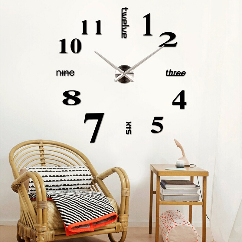 2015 new clocks hot home decor Quartz wall clock living room watches limited modern fashion diy art stickers free shipping(China (Mainland))