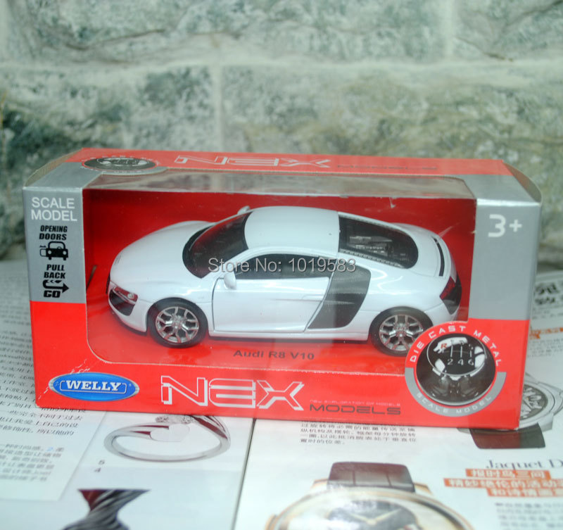 (5pcs/pack) Wholesale WELLY 1/36 Scale Classical AUDI R8 Supercar Diecast Metal Pull Back Car Model Toy New In Box(China (Mainland))