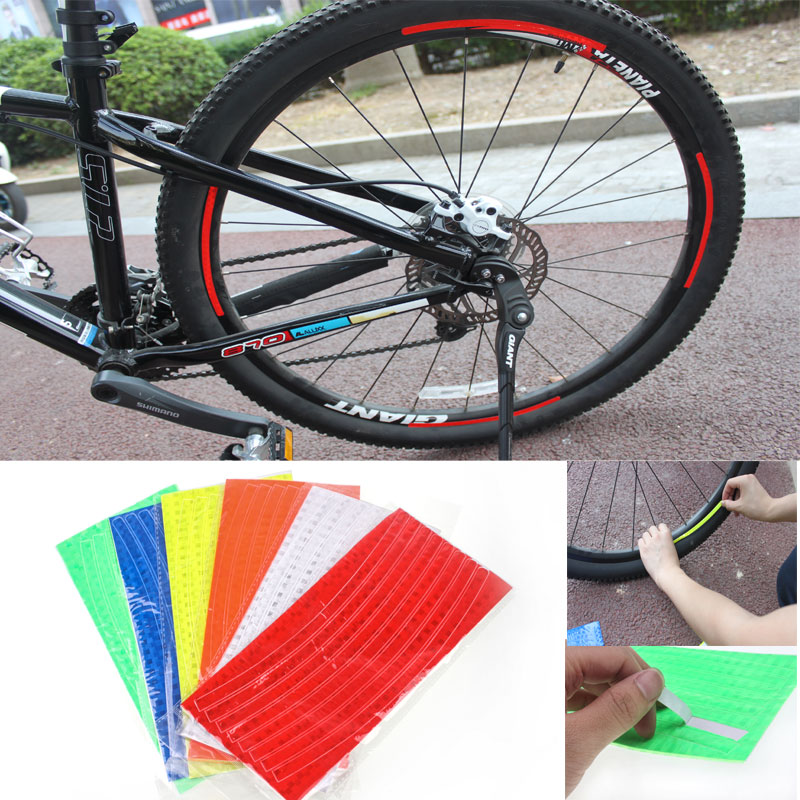 DIY Decoration Bicicletas Fluorescent Bicycle Wheel Stickers Cycling Wheel Rim Reflective Decal For Outdoor Sports MBI-09(China (Mainland))
