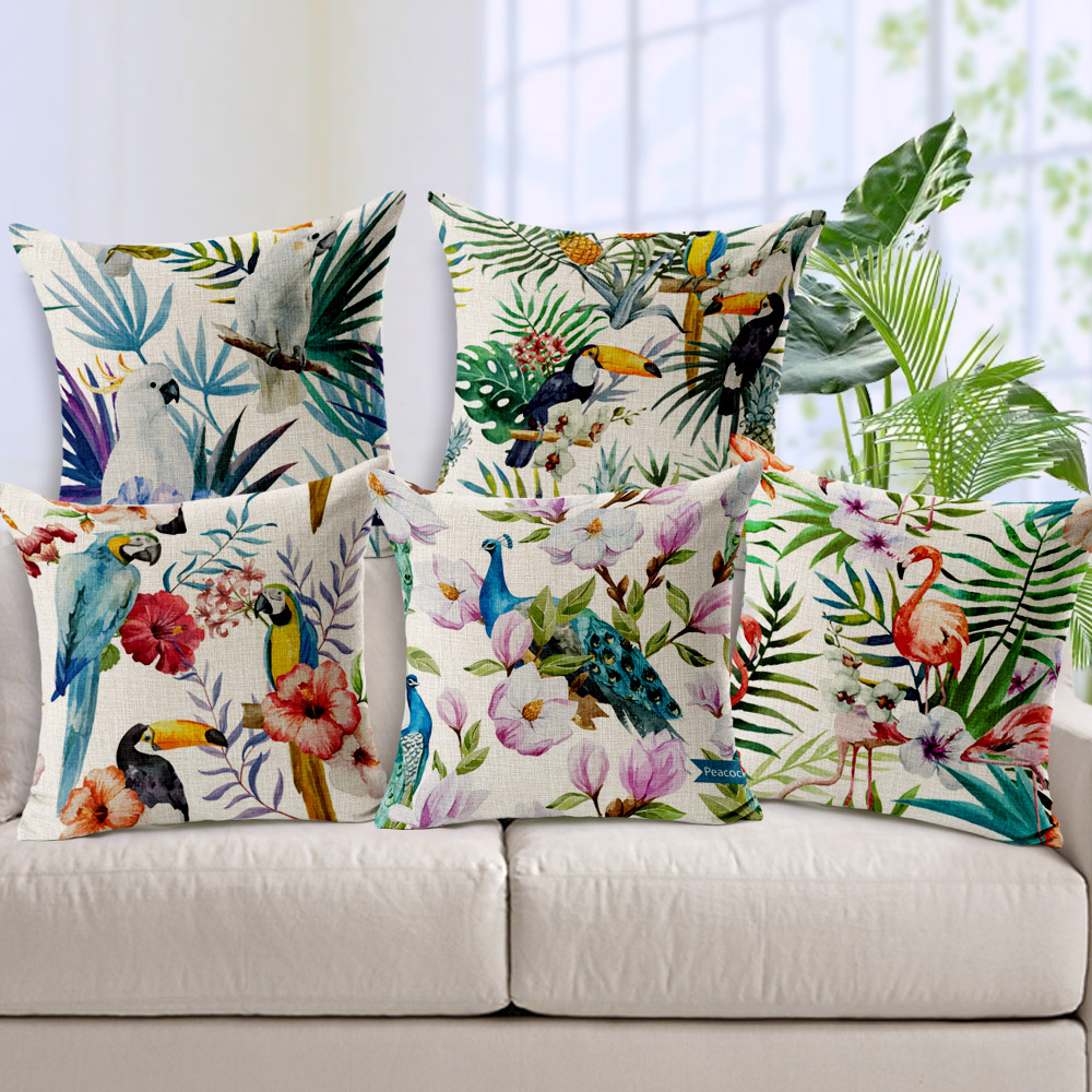 Hand Printed Parrot Peacock Pillow Covering Flamingos Linen Cotton Cushion Decorative Throw Pillows sofa cushion Free Shipping(China (Mainland))