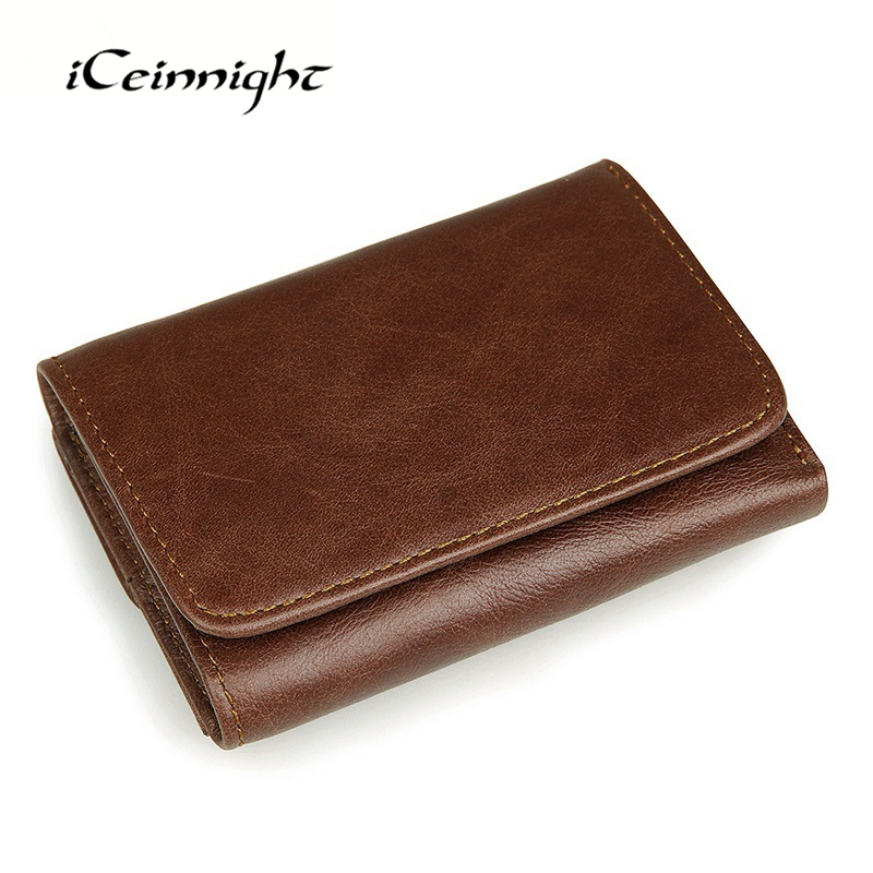 iCeinnight RFID Card Holder Men Genuine Leather Wallet Famous Brand Wallet Men Business Retro Casual Short Purse and Card Holder(China (Mainland))