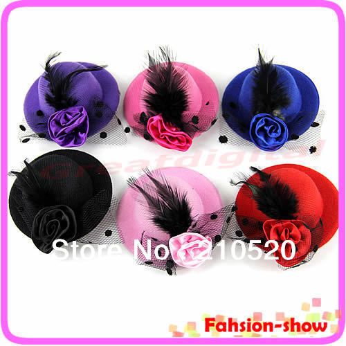 "U95""New Fashion Lady's Mini Hat Hair Clip Feather Rose Top Cap Lace fascinator Costume Accessory 6Colors Free Shipping(China (Mainland))"