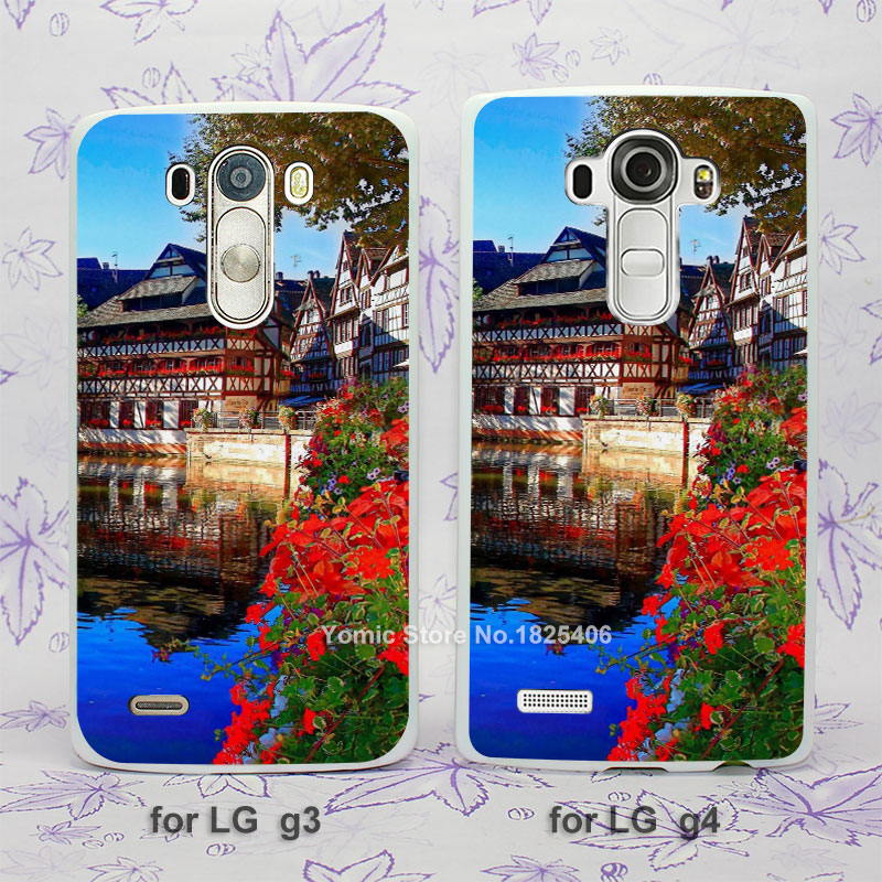 Christmas Market Strasbourg hard White Skin Case Cover for LG G3 G4 plastic case cover(China (Mainland))