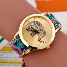 Moda caliente venta de bricolaje patrón elefante cuarzo pulsera relojes mujeres se visten nacional armadura plateada oro pulseras y brazaletes