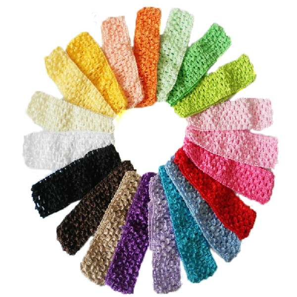26pcs 1.5 inch width Elastic Crochet Headbands Girl Hair Accessary Infant /baby girl hairband, wholesale,(China (Mainland))
